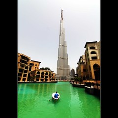 Burj Dubai (JannaPham) Tags: trip travel light holiday building green water architecture canon landscape happy eos boat colorful dubai bokeh gorgeous emirates 5d thursday burj markii project365 bokehlicious 80365   happygorgeousgreenthursday jannapham