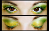 7Up (Lady Pandacat) Tags: portrait macro green eye yellow self catchycolors diptych shiny colorful bright shimmery makeup vivid mexican yeartwo hispanic latina lime sparkly 2009 7up fantabulous pandacat canong9 pandacatbaby tinaangel wwwcoastalscentscom coastalscents88shimmerpalette macpropigment yeahiknowimpale makeupmacro coastalscentspalette ladypandacatvonnopants