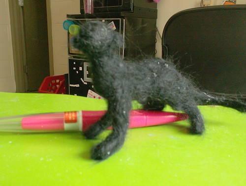 Needlefelting needle felted panther big cat black jaguar wool sculpture figure toy