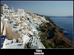 Fira (Drew Scholes) Tags: houses vacation white holiday buildings island postcard roofs santorini greece cyclades thira agean cliiffs 15challengeswinner