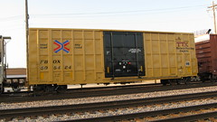 40 foot Hi Cube F.B.O.X boxcar in transit. Franklin Park Illinois. Thursday, June 18th 2009.