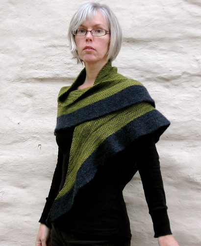 looking SO thrilled to have a new shawl