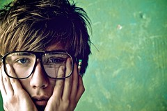Me. Up Close. EXPLORED (Cody Bralts) Tags: boy guy art face 50mm glasses big cafe nikon close culture artsy indie hip cody fartsy d90 bralts