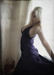 Drift (beth alderson) Tags: bear light woman texture girl flow movement dress purple teddy beth blonde gown ballgown