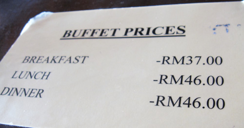 buffet-price-at-perhentian-island-resort