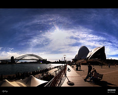 Sydney (Kyaw Photography) Tags: urban panorama sun public water architecture landscape iso100 interestingness politics sydney australian australia circularquay explore lensflare f22 operahouse geotag harbourbridge hdr canonefs1022mm exposureblending manualexposureblending canoneos50d yeyintkyaw 4portraitorientationshots
