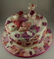 Abe's Heart Birthday cake (Dot Klerck....) Tags: pink cake hearts southafrica teddy chocolate capetown dot patchwork cupcakesbydesign