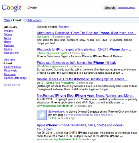 iPhone search on Google, ranked by time