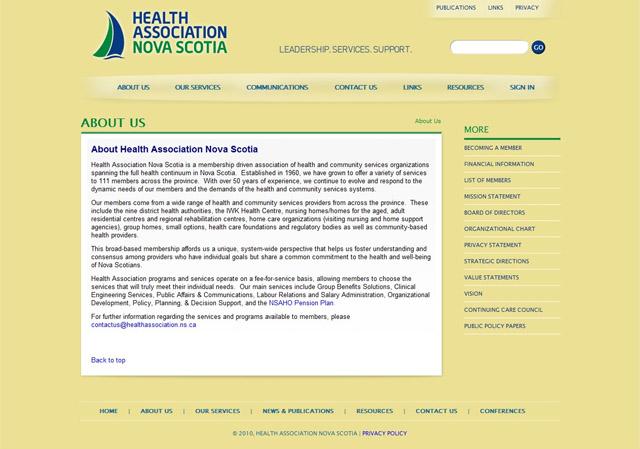 Seção About Us Site Health Association Nova Scotia