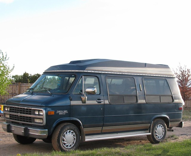 old blue chevrolet high conversion top 1993 chevy van remodel generalmotors
