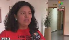 Bertha Cacéres denunciou desde Madrid a morte do dirigente. (Foto:  teleSUR)