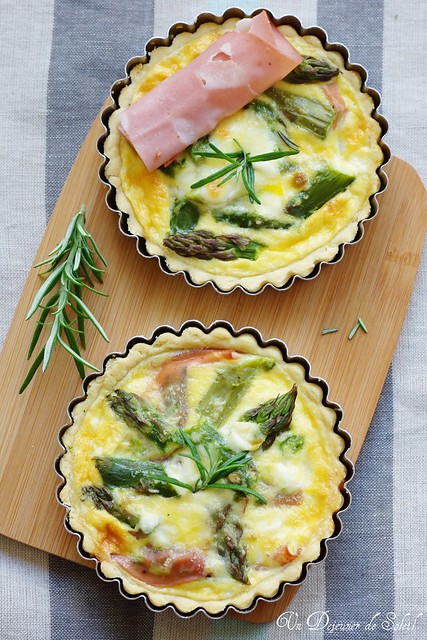 Asparagus, ricotta and mortadella quiche