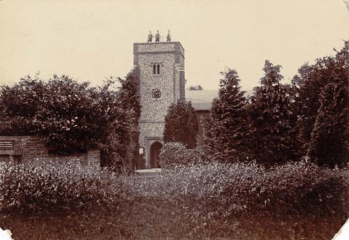 St Katherine's church, Knockholt, Kent, with three steeplejacks. 1890s