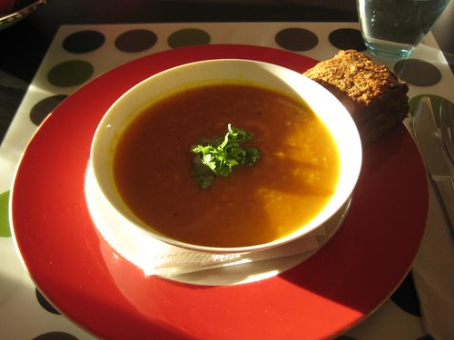 Easy Carrot-Orange Soup from Vegatopia