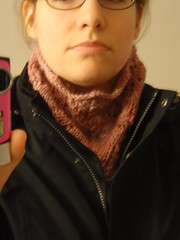 knit cowl, with coat