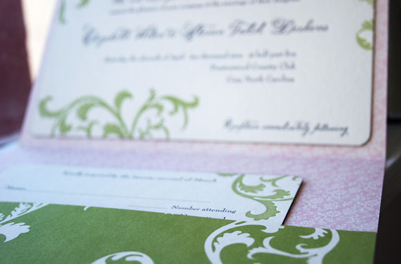 Letterpress wedding invitation - custom pocketfold - Smock