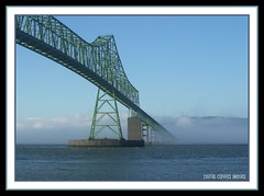 Astoria Megler Bridge (digital canvas images) Tags: bridge blue green water colors lines fog architecture oregon digital river landscape brian columbia images canvas astoria pierce angela megler