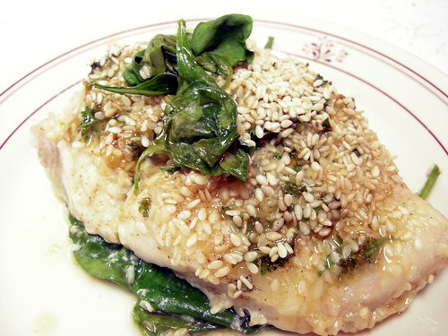 Catfish Roasted With Sesame Seeds, Basil, Garlic and Spinach