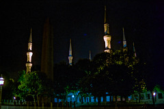 f.CR-31 Sultan Ahmed Mosque at Night (listentoreason) Tags: vacation sky architecture night turkey nikon scanner c trkiye scenic favorites places istanbul mosque event scanned graded bluemosque coolscan ricoh sultanahmet constantinople asa100 byzantium sultanahmetcamii gradec xrm score25 sultanahmedmosque 5000ed republicofturkey coolscan5000ed ricohxrm