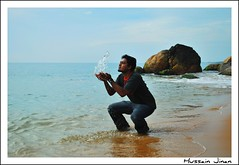 Kiss me Water Lady (Prof EuLOGist) Tags: sea india beach water rocks kerala trivandrum kovalam jinan hussain naveen