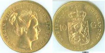 1898 Netherlands 10 Gulden Gold Coin