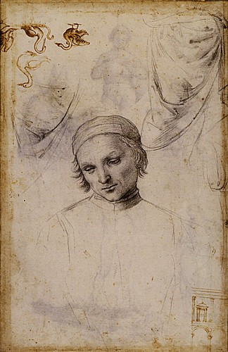 1501  Raphael    Studies for the Coronation of Saint Nicholas of Tolentino, verso  Black chalk  39,4x26,3 cm  Lille, Musйe des Beaux-Arts