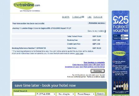 Trainline confirmation page
