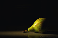 Still Life with Pear (KY-Photography) Tags: uk shadow stilllife brown ontario canada macro reflection green kitchen beautiful closeup fruit table scotland nikon glasgow ky gorgeous guelph pear gb nikkor khalid allrightsreserved kal lanarkshire ghettolighting explored d80 nikond80 18135mmf3556g kyphotography