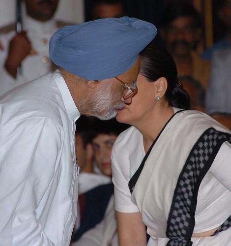 Manmohan Singh with Sonia Gandhi