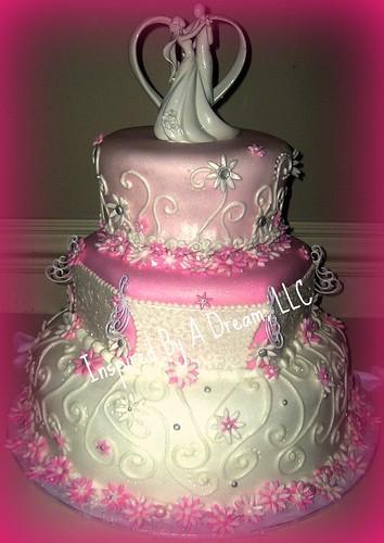Pink and white fondant wedding cake