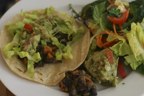 Black Bean and Sweet Potato Taco with Guac and Salad