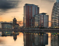 Post Sunset at Quays....! (i.rashid007) Tags: uk longexposure sunset reflection landscape manchester salfordquays bluehour vertorama