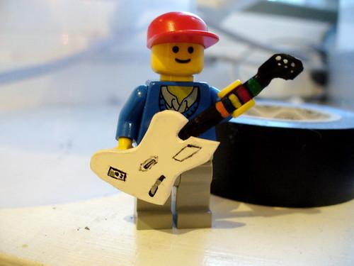 Lego Guitar Hero minifig and custom guitar
