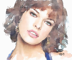 #155 Milla Jovovich (piker77) Tags: portrait woman painterly celebrity art beauty face digital photoshop watercolor painting nice interesting media pretty natural retrato aquarelle digitale manipulation simulation peinture illusion virtual actress watercolour movies transparent acuarela tablet technique wacom ritratto stylized pintura portre  imitation milla  jovovich aquarela aquarell emulation malerei pittura virtuale virtuel naturalmedia bildnis    piker77wc arthystorybrush