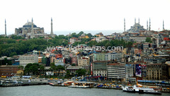 Golden Horn and old European Istanbul (Lynn photographing the world) Tags: street city people building water skyline architecture harbor boat minaret turkiye istanbul mosque bluemosque hagiasophia goldenhorn