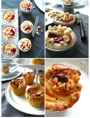 Hazelnut-ricotta crumble cake with blood plum and rasberry