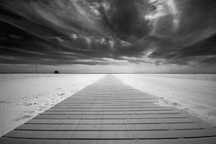 Walk to the Ocean (mi_kirk) Tags: california sun white black hot beach bike clouds sand santamonica 123 lifeguard boardwalk
