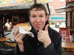 Eating German sausages at the Warrington food festival