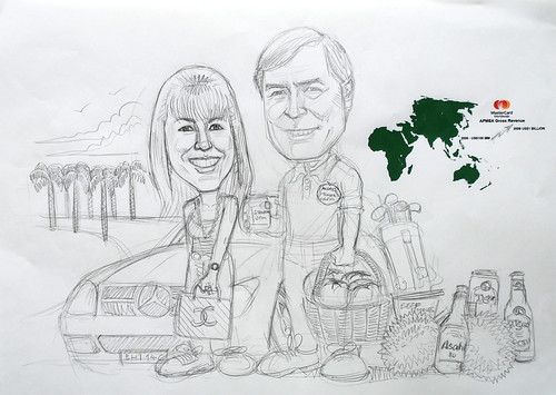 Couple caricatures for Mastercard Mr & Mrs Sekulic detail pencil sketch (revised 2)