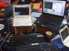 Desk of HackDay with CardboardLaptopStands