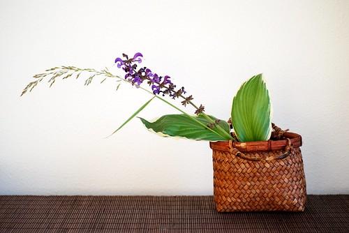Chabana with a handmade woven basket by Otomodachi