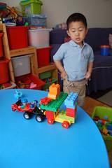 Owen built a train of Legos
