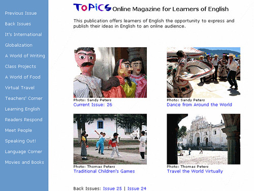 Screenshot of Topics online magazine