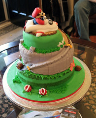 Super Mario Kart cake (mandrake68) Tags: birthday food cake alan milk chocolate devils super mario course turbo kart vanilla circuit blooper n64 goomba raceway fondant sugarcade