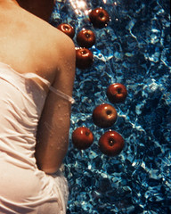 Susan's Apples, MinaLucia0092 (MinaLucia) Tags: blue light red summer woman color slr film water pool cool skin peach sensual editorial apples etsy watermark deschlercopyright minalucia deschlercanossicom buytheseonetsy
