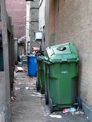 Back alley (urb_mtl) Tags: city blue urban ontario canada green trash lumix back alley ottawa can vert bin panasonic bleu dchets alle poubelles conteneur dtritus fz18