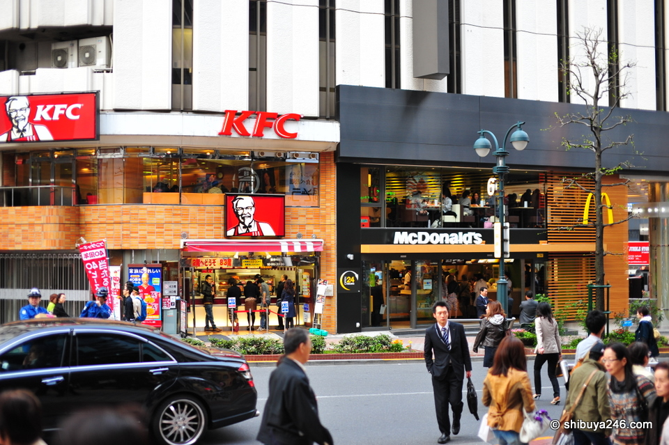 Taking a look across the road at KFC and McDonalds.