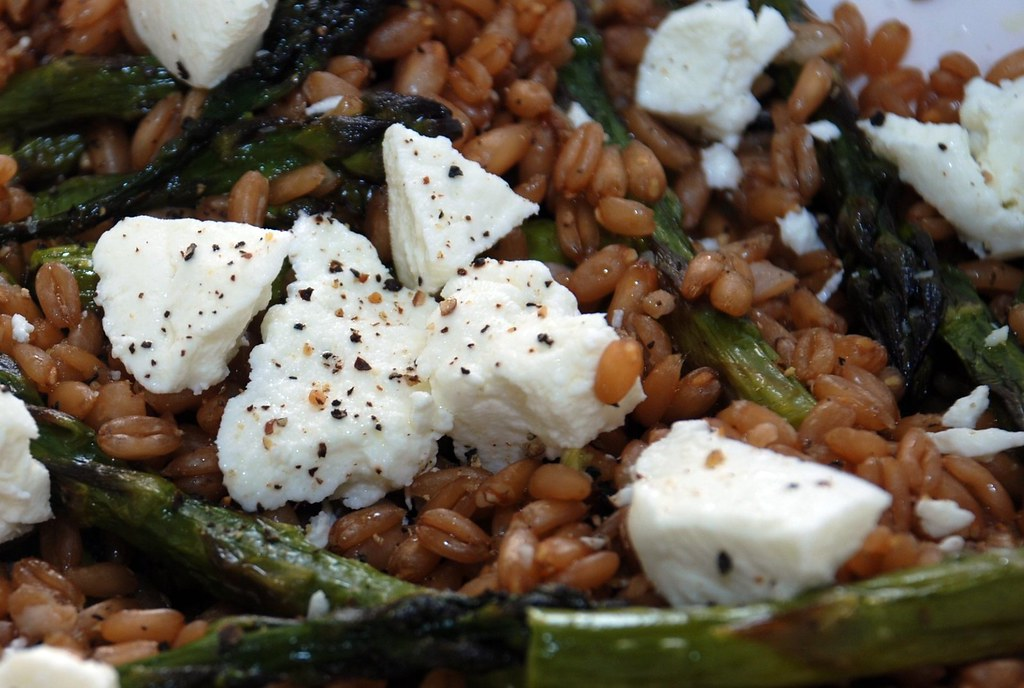 spelt with asparagus and chevre