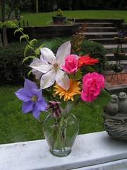 Backyard garden bouquet (rosepetal1175) Tags: flower fern rose garden spring backyard clematis daisy bouquet blooms flowerarrangement wonderfulworldofflowers