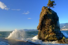 How to shape a rock (Eyesplash - the new slow way) Tags: blue sky tree rock vancouver clouds waves searchthebest wind native indian windy seawall lone aboriginal siwashrock splashing supershot platinumphoto anawesomeshot impressedbeauty treesubject goldstaraward visipix